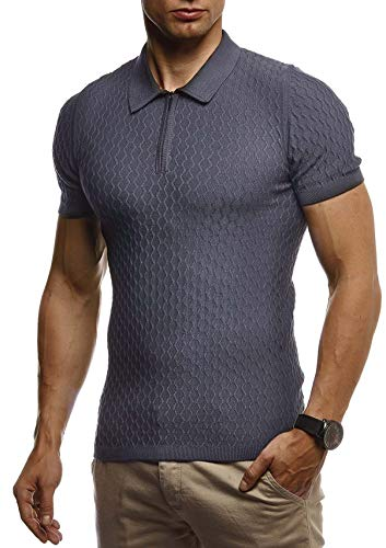Leif Nelson Herren Sommer T-Shirt Poloshirt Slim Fit aus Feinstrick Cooles Basic Männer Polo-Shirt Crew Neck Jungen Kurzarmshirt Polo Shirt Sweater Kurzarm LN7315 Anthrazit Medium