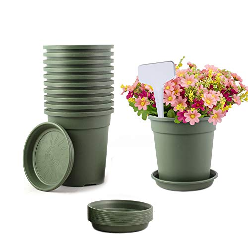 TRUEDAYS 10 PCS 1 Gallon Plastic Garden Flower Pots with Drainage Seeding Plant Container Nursery Pot with Saucers Green