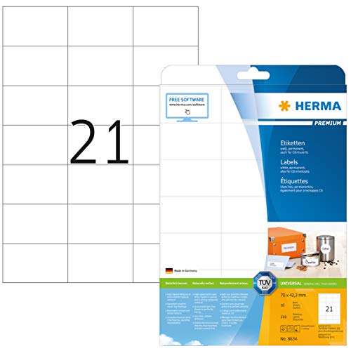 HERMA 8634 Universal Etiketten DIN A4 (70 x 42,3 mm, 10 Blatt, Papier, matt) selbstklebend, bedruckbar, permanent haftende Adressaufkleber, 210 Klebeetiketten, weiß