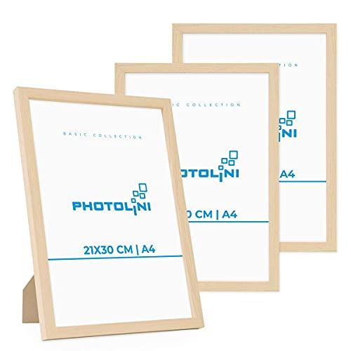 Photolini Juego de 3 Marcos 21x30 cm / A4 Modernos, Naturales de MDF con Vidrio acrílico, Incluyendo Accesorios/Collage de Fotos/galería de imágenes