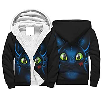 Toothless Dragon Eyes Men s Sherpa Lined Full-Zip Hooded Sweatshirt with Pockets Casual Hoodies Jacket Gifts for Men White l