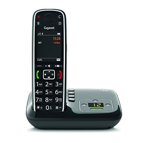 Gigaset E720A - Téléphone fixe sans fil avec répondeur intégré, larges touches et grand écran couleur rétroéclairés, nombreuses fonctions pour la protection contre les appels indésirables - Noir