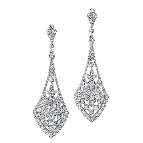 Mariell Zirconia Crystal Art Deco Silver Wedding Dangle Earrings for Women, Jewelry for Bride, Bridesmaid
