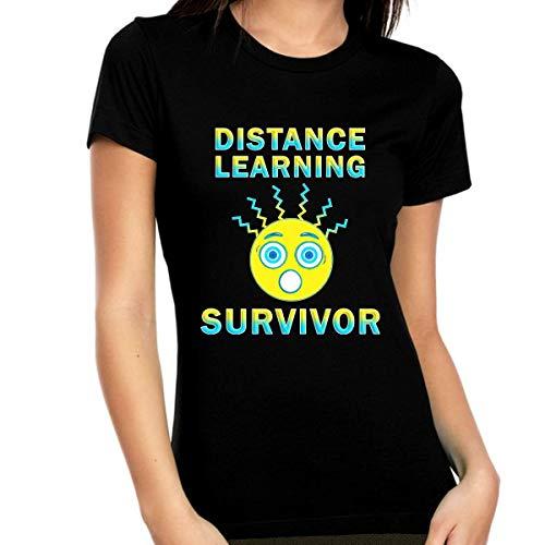 Camicia per imparare la distanza – Coronavirus Survivor Shirt da donna – Coronavirus – Maglietta Corona Virus – COVID 19 -  Nero -  S