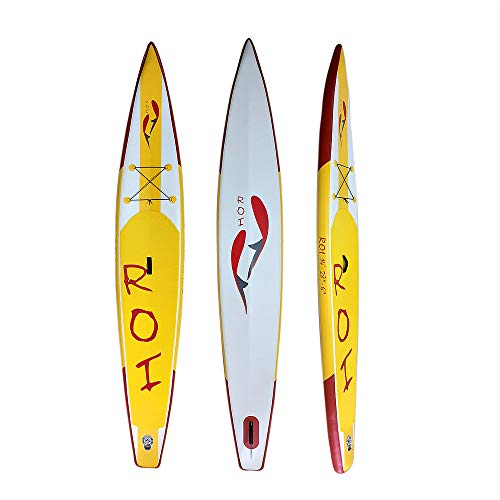 ROI 14' V-Shape Pro Racer SUP, Inflatable Stand Up Paddle Board, Professional Race, 15-18 PSI. Exclusive Collection