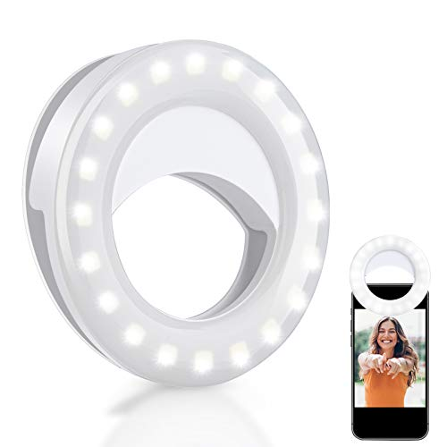 Selfie Ring Light for Phone, Ring Light Mini Circle Clip on Laptop with 40LEDs, Rechargeable Phone Ring Light with 3 Light Modes, Small Ring Light for Computer