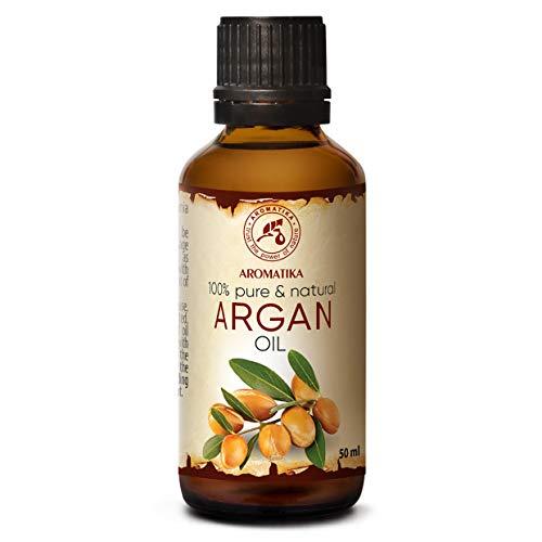 Argan Öl 50ml - 100% Natürliche & Reine Arganöl - Argania Spinosa Argan Oil - Marokko - Kaltgepresst & Desodoriert - Aus Kontrolliert Biologischem Anbau (Kba) - Besten Haaröl - Arganöl für Gesicht - Haar - Haut - Glasflasche