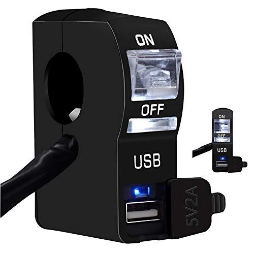 Cargador USB eléctrico para motocicleta con interruptor Cargador de teléfono para motocicleta...