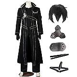 SAO Kirigaya Kazuto Costume Yuuki Cosplay Costume Full Set Suit Halloween (Kirito(with toupee), M)