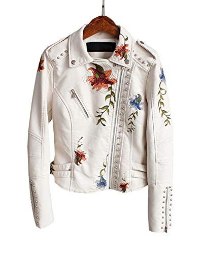 LY VAREY LIN Women's Floral Embroidered Faux Leather Moto PU Jacket Coat (Beige, XXL)