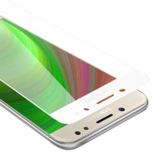 Cadorabo Vollbild Panzer Folie kompatibel mit Samsung Galaxy J7 PRIME / ON7 2016 - Schutzfolie in TRANSPARENT mit WEIß - Gehärtetes (Tempered) Bildschirm-Schutzglas in 9H Festigkeit mit 3D Touch