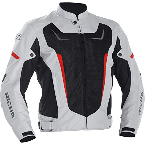 Richa Motorradjacke mit Protektoren Motorrad Jacke Airstrike 2 Textiljacke grau 6XL, Herren, Tourer, Ganzjährig