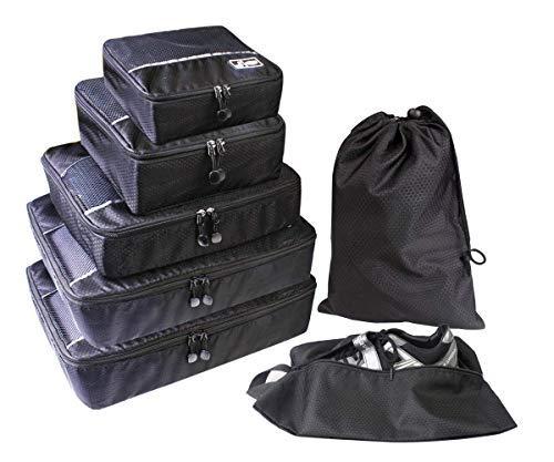 Kleidertaschen 7-teilig Set Kofferorganizer Packing Cubes Verpackungswürfel, Packtaschen(Schwarz)