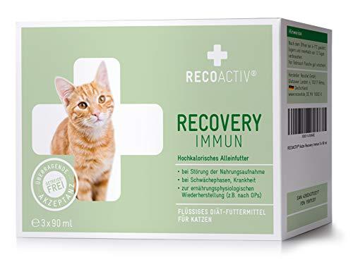 RECOACTIV® Recovery Immun für Katzen 3 x 90 ml - Hochkalorisches Diät Alleinfuttermittel, in der Rekonvaleszenz und nach OPs, für Gewichtszunahme sowie bei Nahrungsverweigerung
