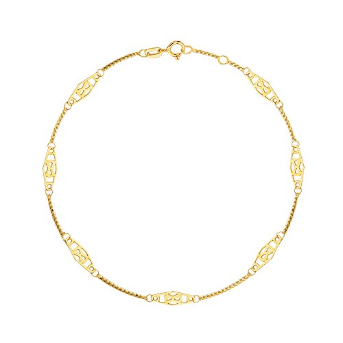Ritastephens 14K Solid Yellow Gold Infinity Anklet 10 Inches