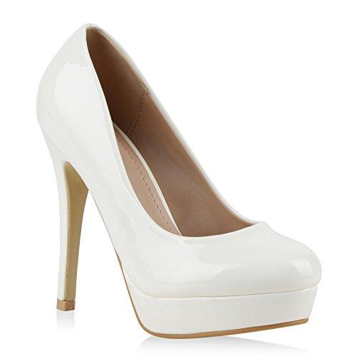 Damen High Heels Plateau Pumps Leder-Optik Braut Stilettos Abend Peeptoes Spitze Schuhe 111682 Weiss Lack Autol 37 Flandell