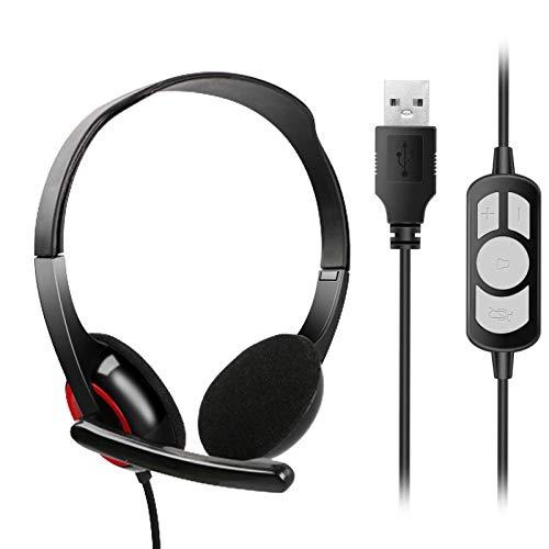 HAL USB Computer Headset Stereo mit Mikrofon, Noise Cancelling Mikrofon und Lautstärkeregler, Laptop/PC Kopfhörer für Skype/Call Center/Büro, Klarere Stimme, Super Leicht, Ultra Bequem - Schwarz