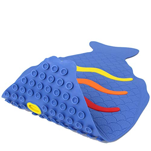 SAFELAND Patented Non-Slip Bath, Shower, Tub, Baby Mat, TPR Material, Eco-Friendly, Non-PVC, Color Combo, Machine Washable, Soft, with Powerful Gripping Suction Cups, 27x16 Inch, Rainbow Fish