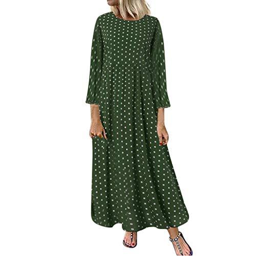 LOPILY Damen Kleid Gepunktes Strandkleid Rockabilly Maxikleid für Mollige Langarm Vintage Kleid Große Größen Freizeitkleid mit Pünktchen Tallierte Blusenkleider Hemdkleid (Grün, 50)