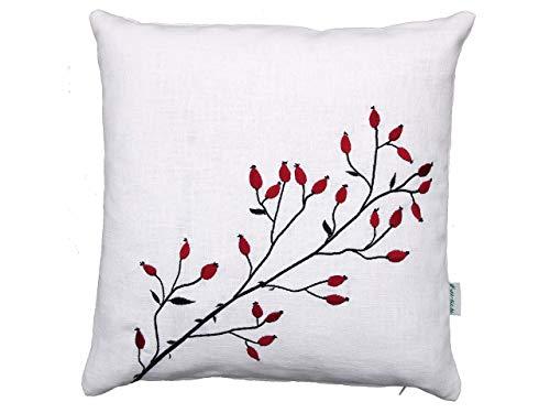 Hagebutten Kissen, rot schwarz bestickt, weißes Leinen, 40x40, 45x45, 50x50 cm Hülle, Weihnachten, Winter Herbst Deko