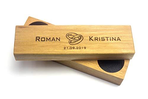 Ringkissen aus Holz und Leder mit Gravur | Für Hochzeitsschmuck | Ring Box Ringbox Ringetui Ringkasten Hochzeit