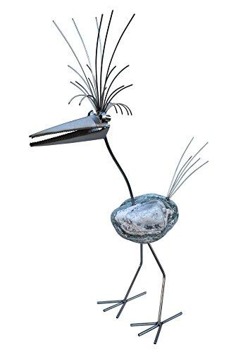 Charlotte Gartenfigur und Gartendeko als Steinvogel aus Edelstahl und Stein Größe L ca 70 cm hoch Design Tiedemann