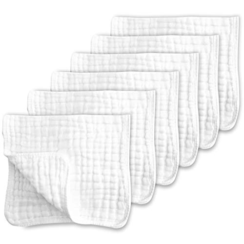 Muslin Burp Cloths for Baby 100% Cotton Large 20''X10'' 6 Layers Thicken Super Soft and Absorbent by CottCare (6 Pack,White)