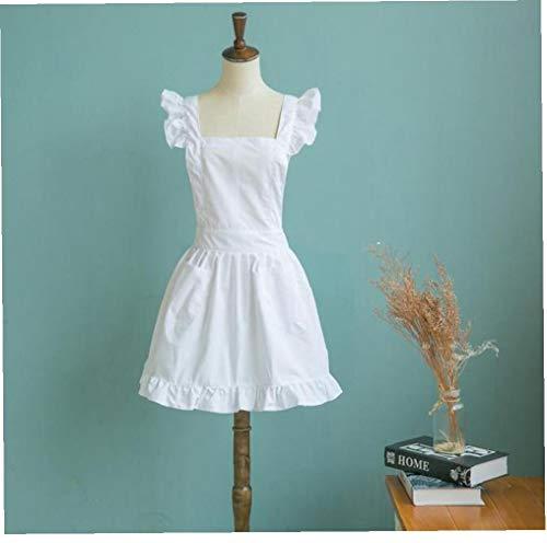 Angoter 1pc Victorian Pinafore Schürze Maid Smock Kostüm mit Rüschen Taschen Weiß