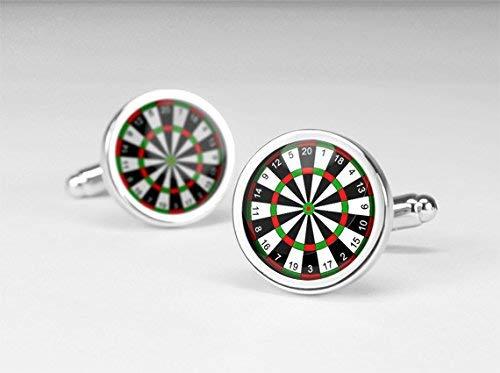 Gemelos para dardos, joyería de tablero de dardos, gemelos hechos a mano, gemelos redondos de cristal de plata, joyería de abalorios, gemelos para camisa