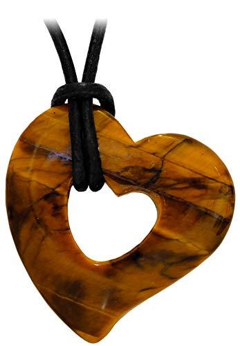 Kaltner Präsente - Collar de piel para hombre y mujer, con colgante de corazón con piedra preciosa de ojo de tigre de 30 mm de diámetro