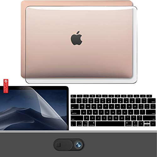GMYLE MacBook Air 13 Inch Case 2020 2019 2018 A2337 M1 A2179 A1932 with Touch ID Retina Display, Plastic Hard Shell, Keyboard Cover, Privacy Webcam Cover Slide, Screen Protector Set, Crystal Clear