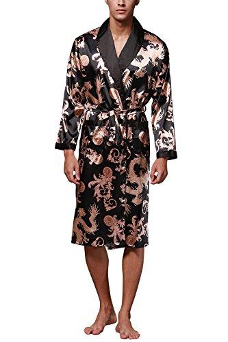 Dolamen Herren Morgenmantel Bademäntel Kimono, Weich u. Leicht Glatte Luxus Satin Nachtwäsche Bademantel Robe Negligee locker Schlafanzug mit Belt & Pockets (Large, Schwarz)