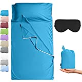 Cozysilk Sleeping Bag Liner with Zipper - Pure Cotton Sleep Sack Adult - Travel Sheet for Hotel & Backpacking, Pure Silk Sleep Mask Included (Lake Blue, Single Luxury - 41 x 87 inch)
