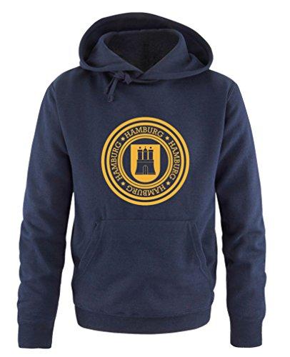Comedy Shirts - Stadtwappen Hamburg - Herren Hoodie - Navy/Gelb Gr. L