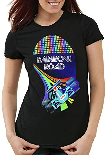 A.N.T. Rainbow Road Camiseta para Mujer T-Shirt Double Dash Kart Tour GP Mario, Color:Negro, Talla:XL