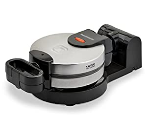 """Low-profile waffle iron with rotating design for perfectly even cooking Bakes a 7"""" Diameter Belgian Waffle with 4 Easy-To-Cut Sections Rotate 180 Degrees to Evenly Distribute Batter and Bake a Crisp, Golden Waffle Nonstick Cooking Plates Easily Wipe ..."""