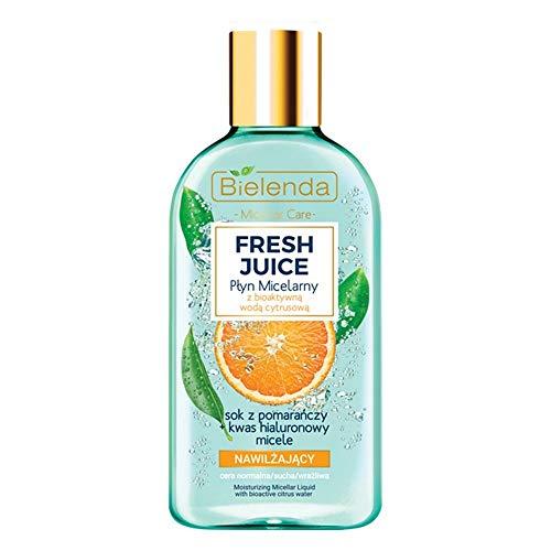 Bielenda Fresh Juice líquido micelar hidratante con agua cítrica bioactiva contiene jugo de naranja refrescante hidratante ácido hialurónico y miceles limpiadores, 100 ml