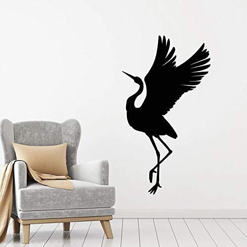 Tianpengyuanshuai Wandtattoo fliegenden Vogel Storch Silhouette Symbol viel Glück Vinyl Fenster Aufkleber Tierkunst 68X38cm