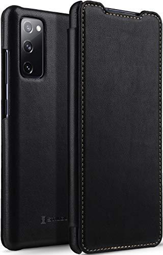 StilGut Book Hülle kompatibel mit Samsung Galaxy S20 FE Hülle aus Leder zum Klappen, Klapphülle, Handyhülle, Lederhülle - Schwarz Nappa