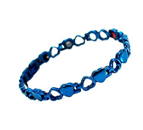 Drkao Magneettherapie-armband, titanium, voor artritis, carpaal tunnel, pijnverlichting, magnetische armbanden voor dames met geschenkdoos, magnetische armband voor dames, in blauw kleur