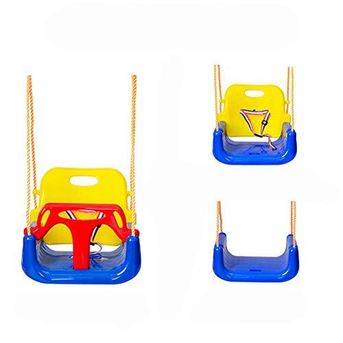 YLJYJ Columpio para bebé de Interior y Silla de Columpio para bebé 3 en 1 en un arnés de Seguridad con Correa Asiento de plástico Compacto en 3 diseños Azul