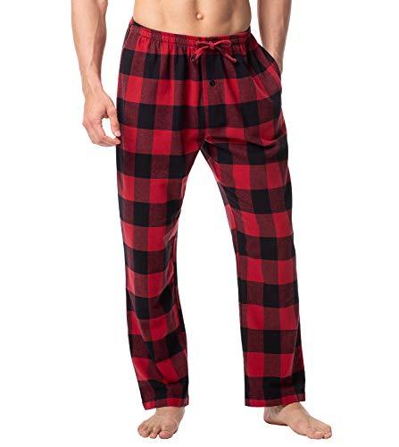 LAPASA Men's 100% Cotton Woven Flannel Pajama Lounge Sleep Pants Plaid PJ Bottoms w Pockets and Drawstring M39 (M Waist 31'-33', Black&Red Plaid)
