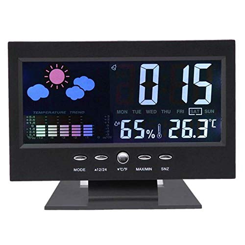 YOUZHA LCD-Temperaturmessgerät Digitales LCD-Thermometer Hygrometer Feuchtetemperaturmessgerät Innenwetterstation Diagnose-Tool-Schwarz