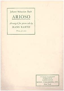 Johann Sebastian Bach Arioso Arranged for Piano Solo By Hans Barth