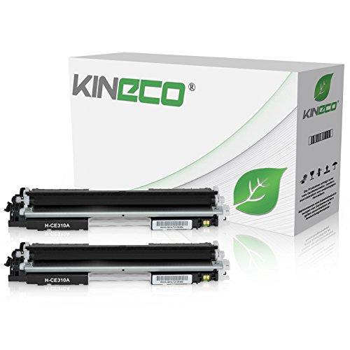 2 cartuchos de tóner Kineco compatibles con HP CE310 Laserjet Pto 100 Color MFP M175, Pro M275, Color Laserjet Pro CP1021, CP1025, CP1028 - CE310A – Negro 1.200 páginas