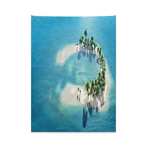 ABAKUHAUS Insel Wandteppich, Bild von Atoll Ringförmige Insel mit Palmen in der Mitte des Ozeans, aus Weiches Mikrofaser Stoff Wand Dekoration Für Schlafzimmer, 110 x 150 cm, Blau-Elfenbein-Grün
