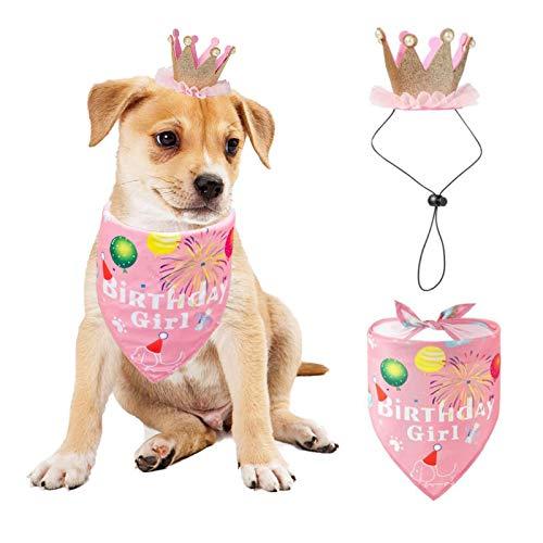 Hund Geburtstag Bandana Hut Set, Hund Geburtstag Party Supplies Hund Bandana Junge Mädchen Welpe Geburtstag Hut Schal für kleine mittlere Hunde Haustier (Rose)