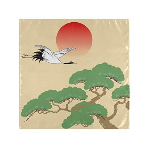 Satin Napkins Set of 4,Japanese Crane Pine Tree Rising Sun,Square Printed Party & Dinner Cloth Napkins,20' X 20'