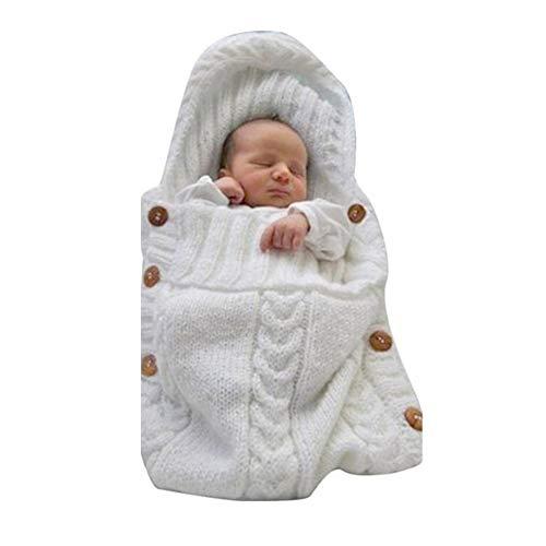 Newborn Baby Wrap Swaddle Blanket Knit Sleeping Bag Receiving Blankets Stroller Wrap 0-6 Months (White)