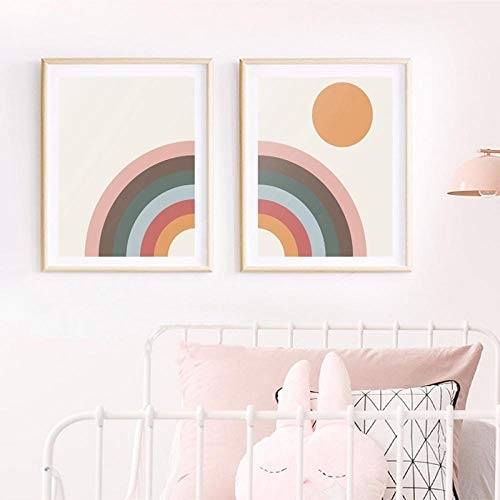 LZASMMVP Mid Century Modern Rainbow Art Canvas Painting Prints Minimalist Rainbow & Sun PosterScandinavian Nursery Wall Art Decor 30x40cmx2Pcs No Frame